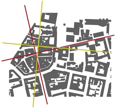 Schwarzplan der Innsbrucker Altstadt; rote Linien: primäres Richtungssystem; grüne Linien: sekundäres Richtungssystem