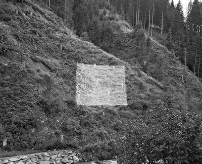 """Sabine Jelinek """"Höhere Wesen befahlen"""", 2011 Weißes Quadrat aus Farbpigment auf Erde, ca. 18 x 18 m"""