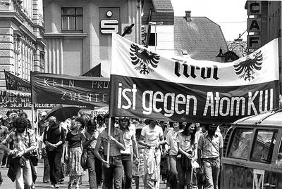 Demonstration gegen das AKW Zwentendorf, 1977